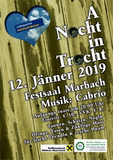 A Nocht in Trocht, Sa. 12.01.2019 um 20 Uhr Festsaal Marbach